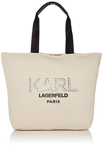 Karl Lagerfeld Paris Damen Kristen Tote Tragetasche, Natur/Silber-Ohrstecker, Einheitsgröße