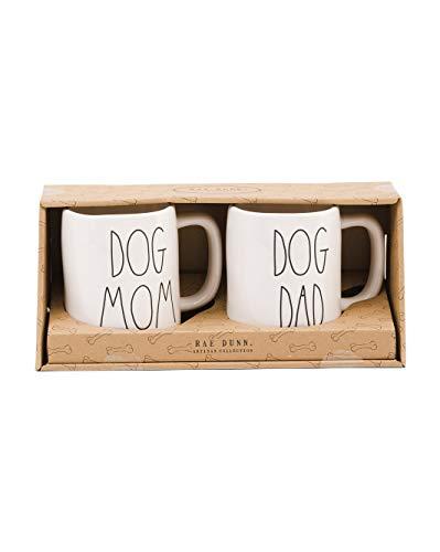 Rae Dunn Artisan Collection Set Mugs Coffee Cups DOG MOM DOG DAD pet parent