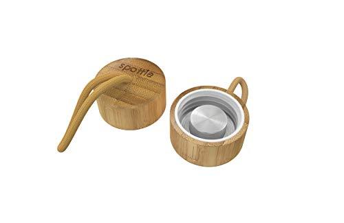spottle® Edelstahl- und Bambusdeckel für Glasflaschen in 550, 750 und 950ml / Metall- und Holzdeckel für Glas-Trinkflaschen/Ersatzdeckel (Bambusdeckel mit Schlaufe)