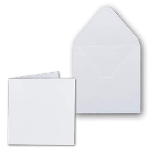 Vierkante kaarten 13,5 x 13,5 inclusief enveloppen 14 x 14 - blanco uitnodigingskaarten in hoog wit - openklapbare kaarten/vouwkaarten - ideaal om zelf vorm te geven & te maken 25 Stück wit