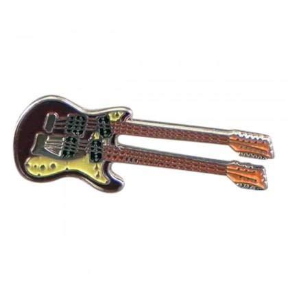 Ashton en Finch dubbele kop gitaar muziekinstrument metalen emaille reversspeld Badge