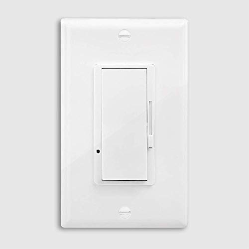 Dimmer Light Switch,Universal Lighting Control with Decor Wall Plates,3-Way Single Pole Dimmable Slide,600 Watt max,for Dimmable LED,Halogen and Incandescent Bulbs