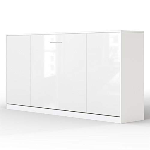 SMARTBett Basic 90x200 Horizontal Weiss/Weiss Glanz Schrankbett   ausklappbares Wandbett, ideal geeignet als Wandklappbett fürs Gästezimmer, Büro, Wohnzimmer, Schlafzimmer