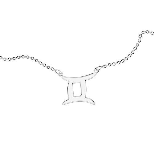 Collar Personalizado, para Mujer, con Signo del Zodíaco. Use su signo del zodíaco. Con grabado. Acero inoxidable e hipoalergénico. Color plata. Diseñado en Italia. (Géminis)