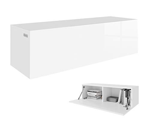 RODRIGO TV Lowboard Hängeboard Board Schrank mit Hochglanz 105 cm Länge (korpus matt weiß + Front weiß Hochglanz)