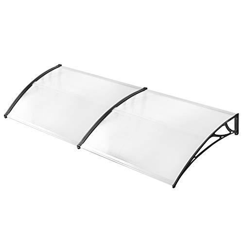 UISEBRT Pensilina da Esterno 200 x 100 cm - Pensilina Tettoia per Porta Balcone Tenda da Veranda Pensilina in Policarbonato, Nero