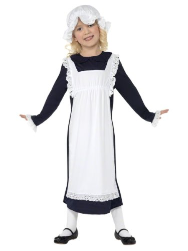 Smiffys-33714L Disfraz de Chica pobre Victoriana, Blanca, con Vestido con Delantal y Gorro de v, Color, L-Edad 10-12 años (Smiffy