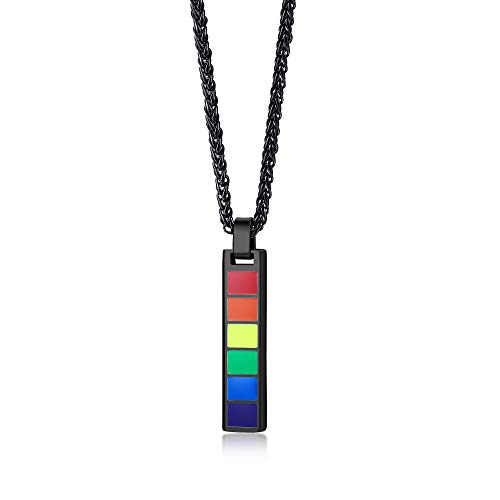 Hisatan Personalized Gay Pride Necklace for Men Women,Custom Rainbow Flag Lesbian Friendship Pendant,LGBTQ Awareness Jewelry for Parades and Events,Black