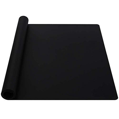 Webake siliconen bakmat 60 × 40 cm multifunctionele hittebestendige anti-aanbaklaag siliconen mat voor werkbladen, aanrecht beschermer, kunst en ambachtelijke mat 24 x 16 inch Zwart