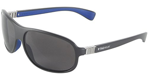 TAG HEUER LEGEND TH9301 103 64mm hombres Aviadores plástico gafas de sol gris oscuro azul
