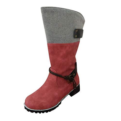 HDUFGJ Winterstiefel Damen Warm Baumwollboots wasserfeste Stiefeletten Chelsea Boots Outdoor-Schuhe Profilsohle gefüttert Baumwollboots Keilstiefel Stiefeletten kurz boots38 EU(Wein)