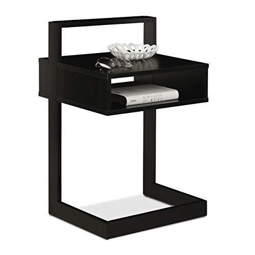 Relaxdays Camera Tavolino con Scomparto, Comodino Rettangolare, Legno & MDF, Camera & Salotto, Design, 60,5 x 40 x 34 cm, Nero, Legno, Pannelli MDF, 1 pz