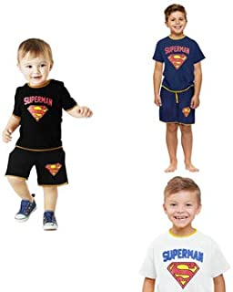 SUPERMAN Costume Cloth Set for Boys Girls and Baby kids Short and Top Super Hero Sport Unisex