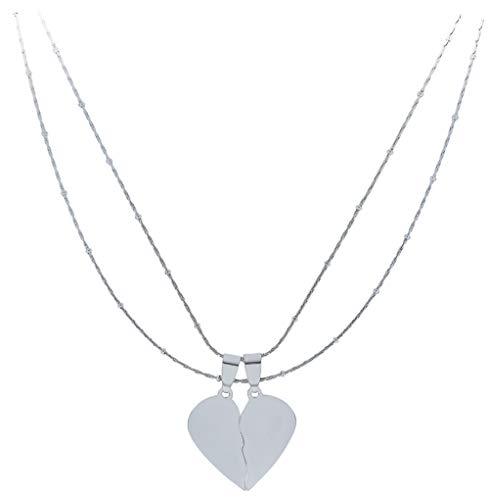 ENTREPLATA Dos Collares Acero Novios Regalo de San Valentin Enamorados Colgantes Corazon Partido 2 cm.
