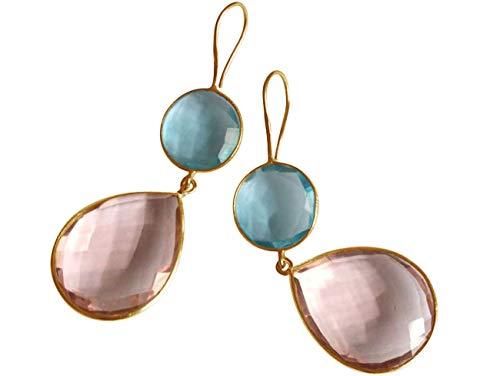Gemshine Damen Ohrringe Blautopas und Rosenquarz Tropfen. 925 Silber oder vergoldete Ohrhänger. Nachhaltiger, qualitätsvoller Schmuck Made in Spain, Metall Farbe:Silber vergoldet