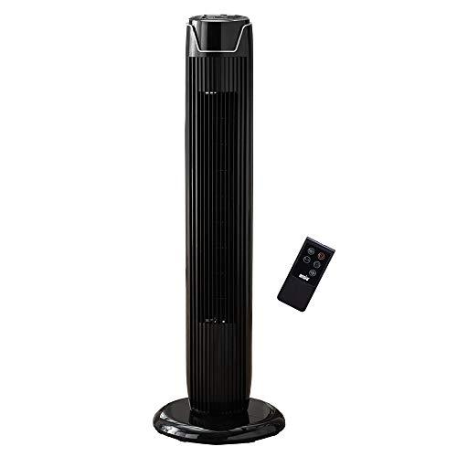 ANSIO Ventilatore a torre oscillante con telecomando e 3 impostazioni di velocità e di vento, con cavo lungo 1,75 m.36 pollici - Nero (batterie non incluse) 2 anni di garanzia