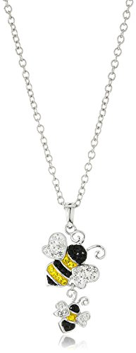 """Silver-Plated You & Me Crystal Bumblebees Pendant Necklace, 18"""""""