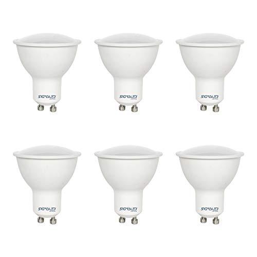 SIGMALED LIGHTING PACK 6 FOCO LED GU10 7W (=60W), 560 lúmenes, luz blanca natural 4000K, Lámparas LED GU10, dimensión 50x57mm, ángulo 120°, Eficiencia energética Clase A+