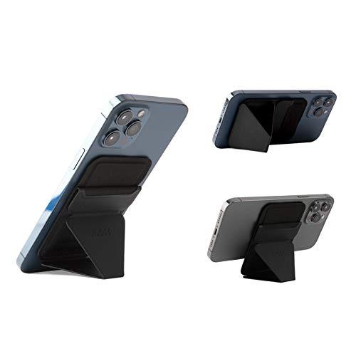 MOFT マグネットスマホスタンド iPhone 12シリーズ専用 MagSafe/MagSafe専用スマホケースに対応 カードケース機能 フロートタイプ角度調節 薄型軽量 折り畳み式 複合材質 内蔵磁石十六個 (ブラック)