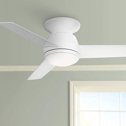 "44"" Marbella Breeze White Modern LED Hugger Ceiling Fan - Casa Vieja"