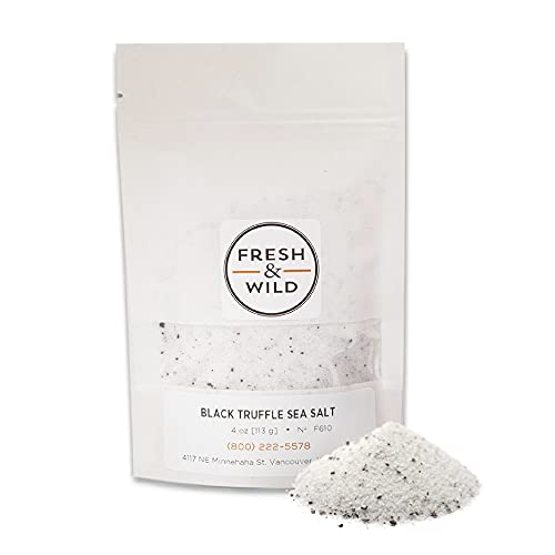 Fresh & Wild   Concentrated Black Truffle Sea Salt   Vegan, Gluten-Free   The Perfect Pinch for Fish, Risotto, Pasta, Creamy Sauces, Popcorn or French Fries   4 oz   Gourmet, Chef-Inspired Ingredients