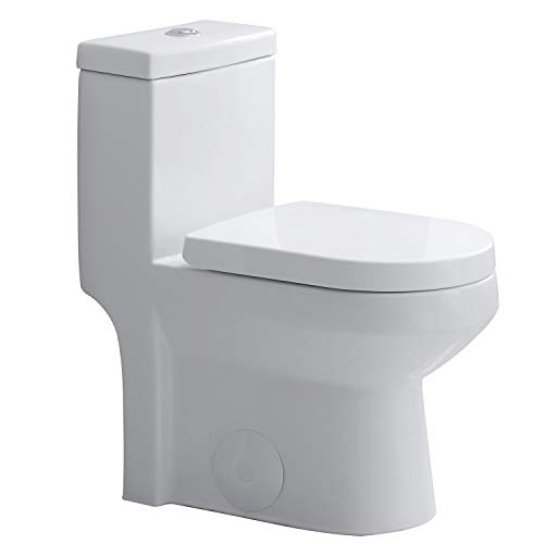 HOROW HWMT-8733 Small Toilet 25' Long x 13.4' Wide x 28.4' High One Piece Short Compact Bathroom Tiny Mini Commode Water Closet Dual Flush Concealed Trapway
