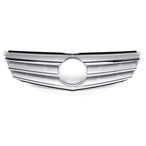 OutdoorKing Parrillas para Mercedes para Benz Clase C W204 C180 C200 C300 C350 2008-2014 Parachoques Delantero Coche Rejilla Superior Embellecedor De Cubierta De Parrilla (Color : Plata)