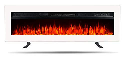 ERGOSOFT Electric Fireplace Insert Wall Mounted freestanding Heater with Remote Control,1500/750W (White, 40 Inch)