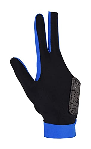 LIXBD Elastische 3-Finger-Show-Handschuhe für Billard-Shooter, Carom, Pool, Snooker, Queue, Sportkleidung auf der rechten oder linken Hand, Größe M (schwarz) (Farbe: Blau, Größe: Medium)