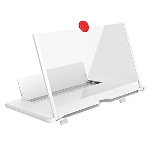 Fuyamp 30,5 cm (12 Zoll) Handy-Bildschirmverstärker mit klappbarem Ständer, dünne ausziehbare Bildschirmlupe für Filme, Videos, Spiele, unterstützt 14,9 - 16,5 cm (5,5 - 6,5 Zoll) Smartphones (weiß)