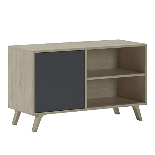 SelectionHome - Mueble TV 100 con puerta, mueble de salon comedor, Modelo Wind, color Puccini y Gris Antracita, medidas: 92 cm (largo) x 40 cm (fondo) x 57 cm (alto)