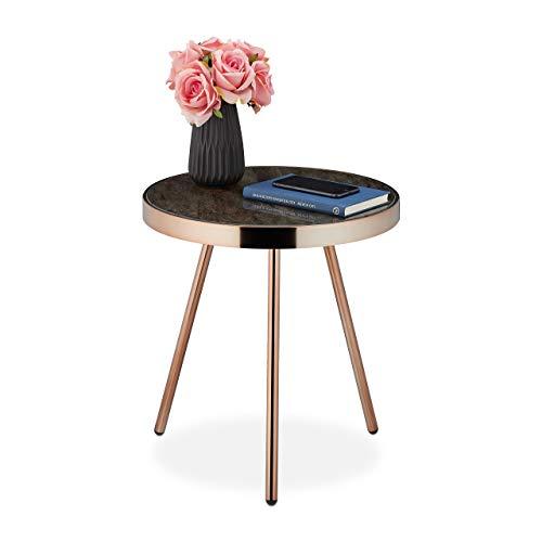Relaxdays Bijzettafel, retro design, voor woonkamer, ronde glasplaat in marmer-look, HxD 45x42cm, zwart-roségoud, 1 stuk