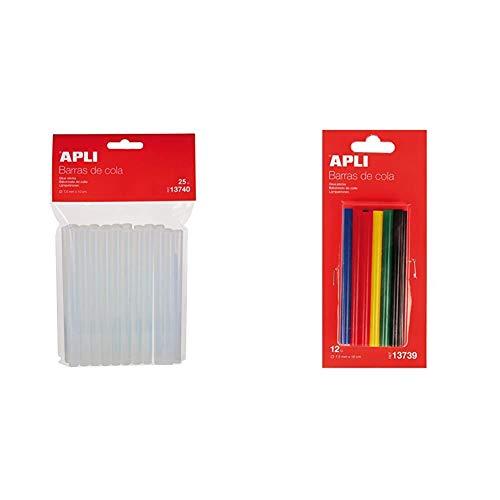 APLI 13740- Recambio barras de cola termofusible Ø 7,5 mm x 10 cm 25 barras - Pack Ahorro + 13739- Recambio barras de cola termofusible color surtido Ø 7,5 mm x 10 cm 12 barras