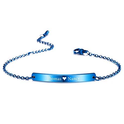VIBOOS Pulsera Personalizada Grabado Nombres Personalizados para Mujeres Niñas Acero Inoxidable Enlace Ajustable En El Tobillo Regalos De Dama De Honor Pulseras del Mejor Amigo (Azul Color)
