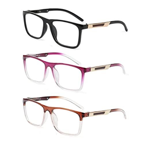 XWYZY Gafas de Lectura, 3 PCS Gafas de Lectura de Alta definición, Marcos ultraligeros de Moda Unisex, Gafas presbílicas de cuidados de visión + 1.00~3.50 (Color : 3 Mix Color, Size : +350)