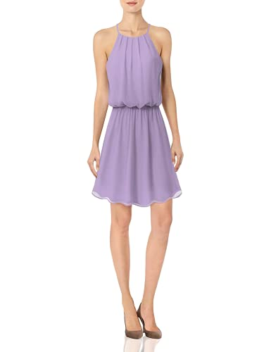 JSCEND Women's Sleeveless Double Layered Pleated Neck Cami Chiffon Mini Dress (S~3XL) A-Lavender L