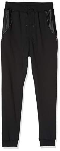 Urban Classics Side Zip Leather Pocket Sweatpant Pantalons, Noir (Noir/Noir 17), L Homme