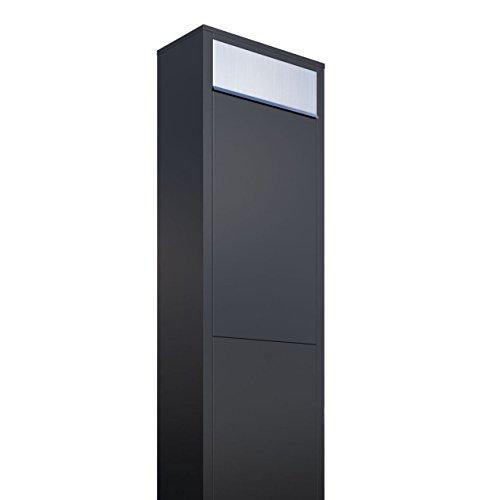 Standbriefkasten, Design Briefkasten Big Box Schwarz/Edelstahl - Bravios