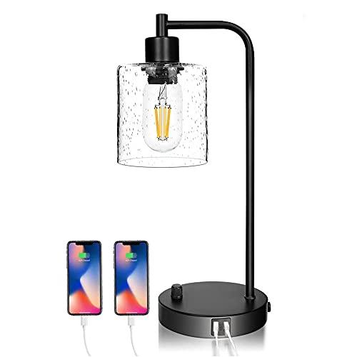 Lámpara de mesa retro E27 Lámpara de mesa vintage en diseño industrial color negro, 2 conexiones USB,casquillo: E27, interruptor giratorio, sin bombilla
