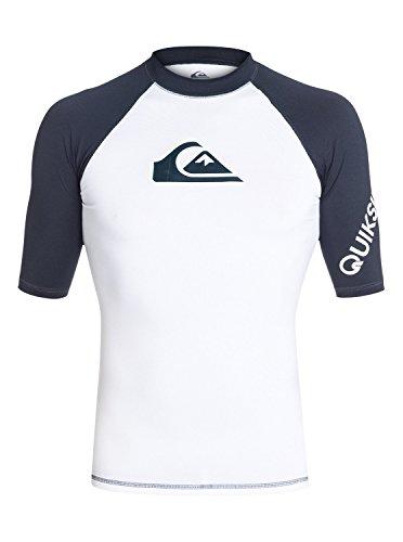 Quiksilver Men's All Time Short Sleeve Surf Tee Rashguard,White/Dark Blue,XXX-Large
