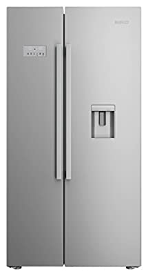 Beko ASD241X Free-Standing 554-litre A+ stainless Steel Vertical Door (side-by-side) Refrigerator – (French doors, LED, Glass)
