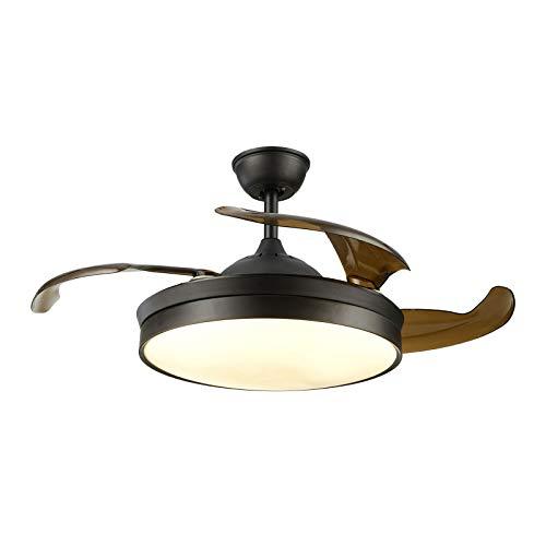 TFCFL Ventilador de techo con iluminación y mando a distancia silencioso, 36 pulgadas, color negro, industrial, ventilador de techo con luz de araña, para dormitorio, salón, comedor
