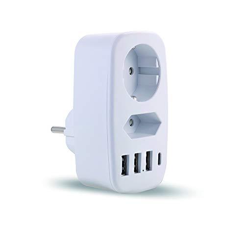 Firlarm - Enchufe USB Regleta Total 5V / 3.0A, Regletas Enchufes USB 4000W (16A), 3 Puertos USB y 1 Puerto USB-C,Enchufe USB Pared con Enchufe Plano Schuko