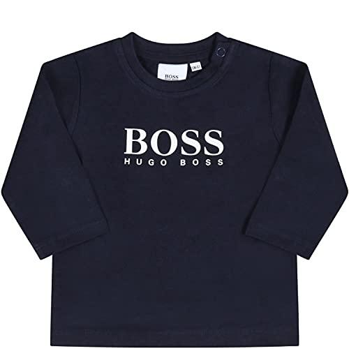 BOSS Hugo - Camiseta azul para bebé con logotipo – 18 M, azul