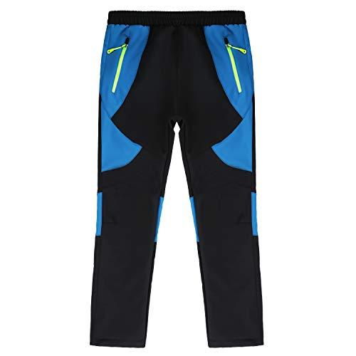 Belloo - Pantalones de senderismo para niños, impermeables, cortavientos, con forro polar, niño, Negro , 152