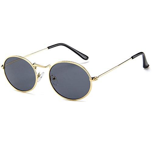 Topgrowth Gafas de sol unisex ovaladas Elliss, marco metálico, gafas retro degradadas de moda