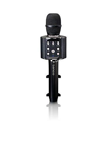 Lenco BMC-090 - Karaoke Mikrofon - Bluetooth V4.2 - Mit Smartphone-Halterung - 5 Watt RMS - LED Lichteffekte - integrierter Akku mit 1200mAh – Android und iOS - Schwarz
