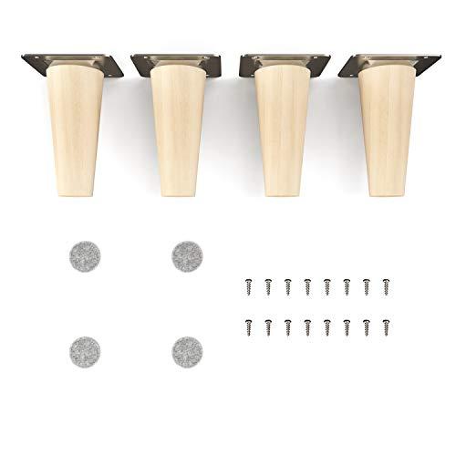 sossai Holz-Möbelfüsse - Clif | Natur (unbehandelt) | Höhe: 10 cm | HMF1 | rund, konisch (gerade Ausführung) | Material: Massivholz (Buche) | für Stühle, Tische, Schränke etc.