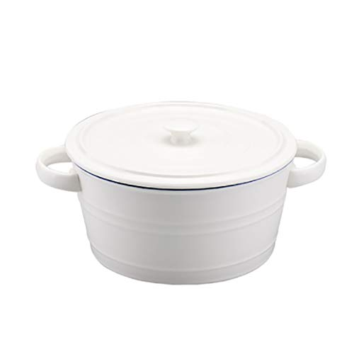 Binaural ceramic mixing bowl, family massive baking mixing bowl, soup bowl, easy blue edge, with lid insulation