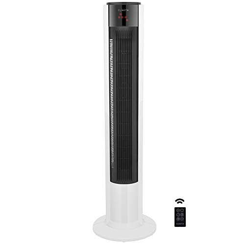 """Climatik - Ventilateur Colonne avec Oscillation Interne - 3 Vitesses - Modes Normal/Brise/Nuit - avec télécommande/minuterie de 7 Heures - pour la Maison/Le Bureau - 110 cm (43"""")"""